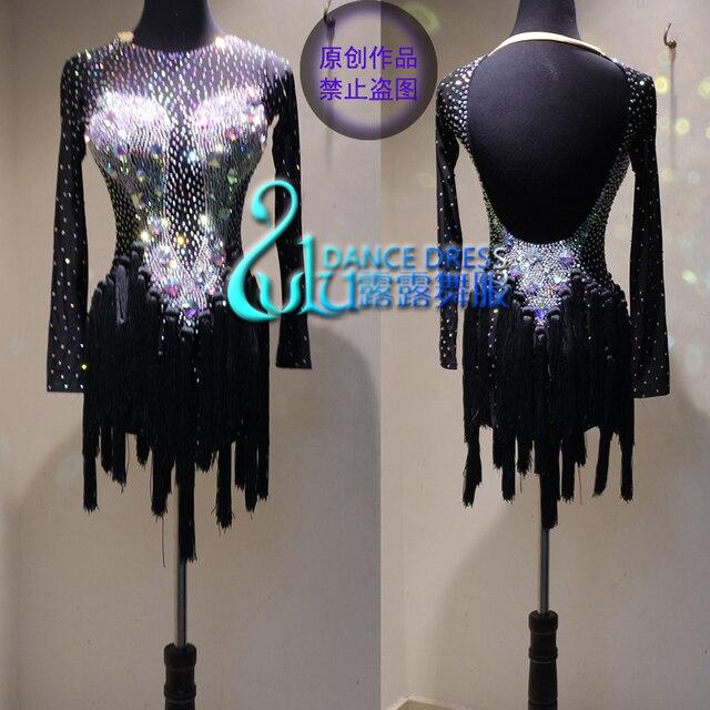 ラテンダンスのドレスの女性女の子最新スタイルのセクシーなラテンダンスアパレルラテンダンスドレス Balck ダンスドレス