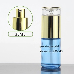 Image 4 - 30ml frosted/green/blue/white glass bottle gold pump lid for serum/lotion/emulsion/foundation/anti UV/essence/skin care