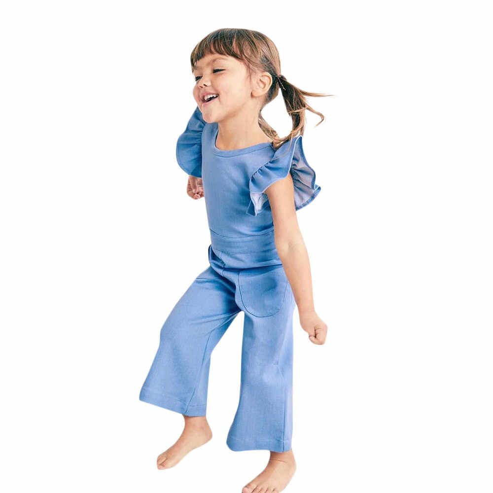 ffc73e7d384 Toddler Kids Girls Fly Sleeve Backless Solid Jumpsuit Pants small flying  belt backless solid color jumpsuit