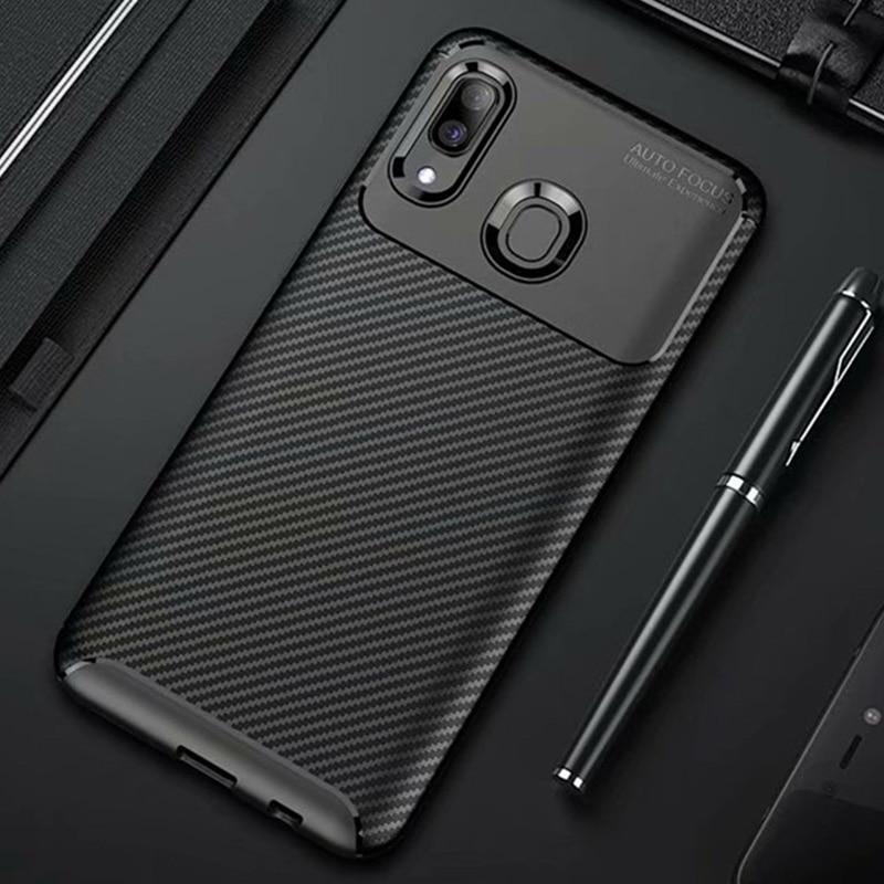 For Samsung Galaxy A20e A20 A30 A40 Case Carbon Fiber Cover Shockproof Phone Case For Samsung A 20 30 40 20e Cover Thin Bumper