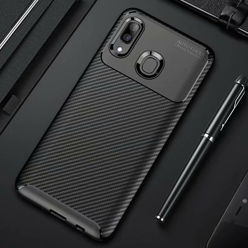 For <font><b>Samsung</b></font> <font><b>Galaxy</b></font> A20e <font><b>A20</b></font> A30 A40 Case Carbon Fiber Cover Shockproof Phone Case For <font><b>Samsung</b></font> A 20 e 30 40 Cover Matte Bumper image