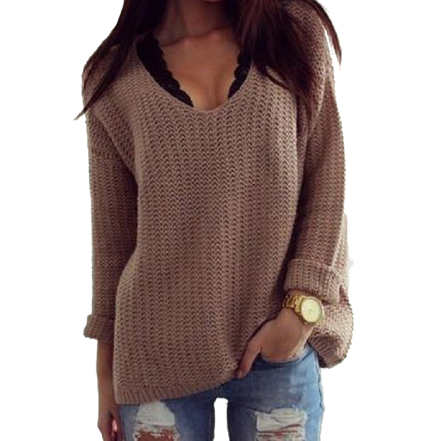 fbeaeb5ba9 1PC Women s Long Sleeve Crew Neck Cotton V-neck Autumn Sweater Women  Pullover Brown S