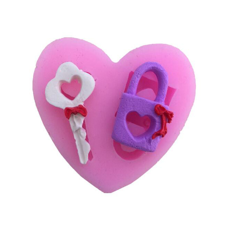 2017 Limited Heart-shaped Key Lock Sugar Cake Decoration Mold Handmade Chocolate Desserts Baking Tools Kitchen Table Bar Tool ...
