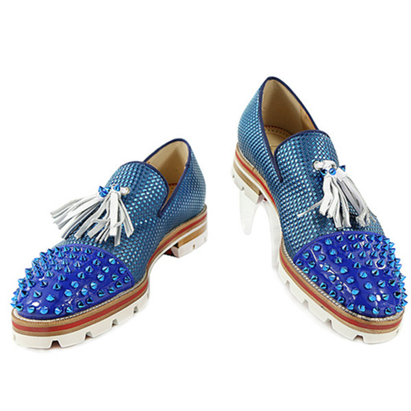 Fashion Men Blue Patchwork Tassel Shoes Spikes Studded Lowtop Slip on Mixed Color Loafers Anti-skid Men Casual Shoes Size 38-47 new fashion tassel fringe dandelion spikes mens loafers high quality slip on flats shoes mens casual shoes size 38 47
