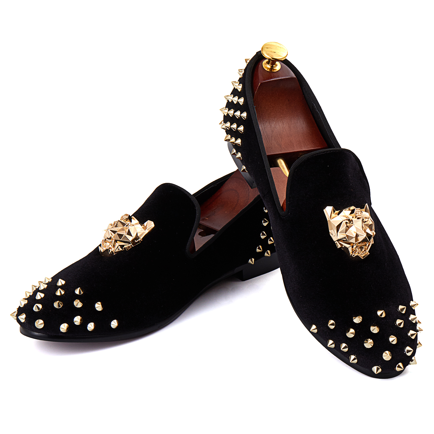 Branded Flat Shoes Rivets Black Men Velvet Loafers Animal Buckle Dress Shoes With Spikes Red Bottom