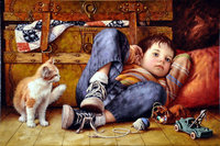 DIY Home Decor Needlework Diamond Embroidery Boy And Cat Pictures Mosaic Cross Stitch 3D Rhinestone Diamond