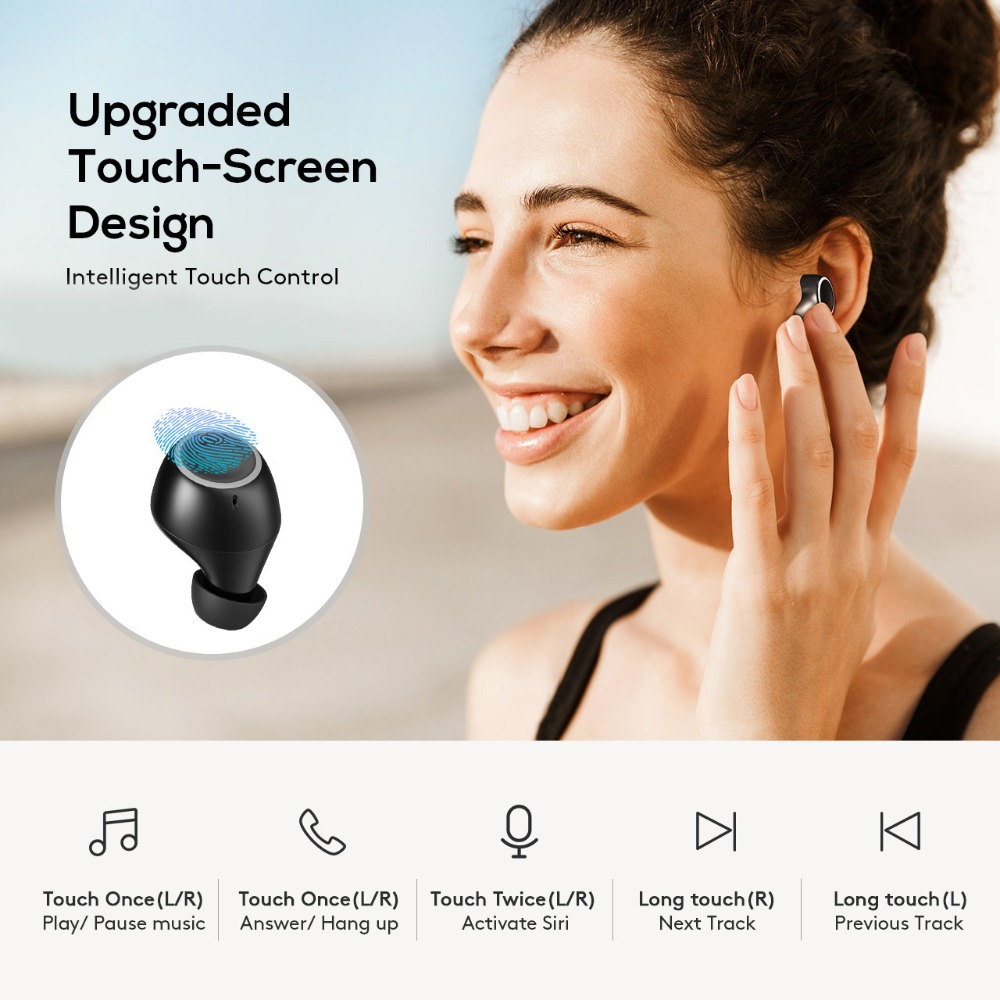 Mpow T6 TWS sans fil Bluetooth 5.0 écouteurs ipx7 étanche 21 h temps de jeu sans fil écouteurs avec micro pour iPhone Xs Xr Huawei - 3