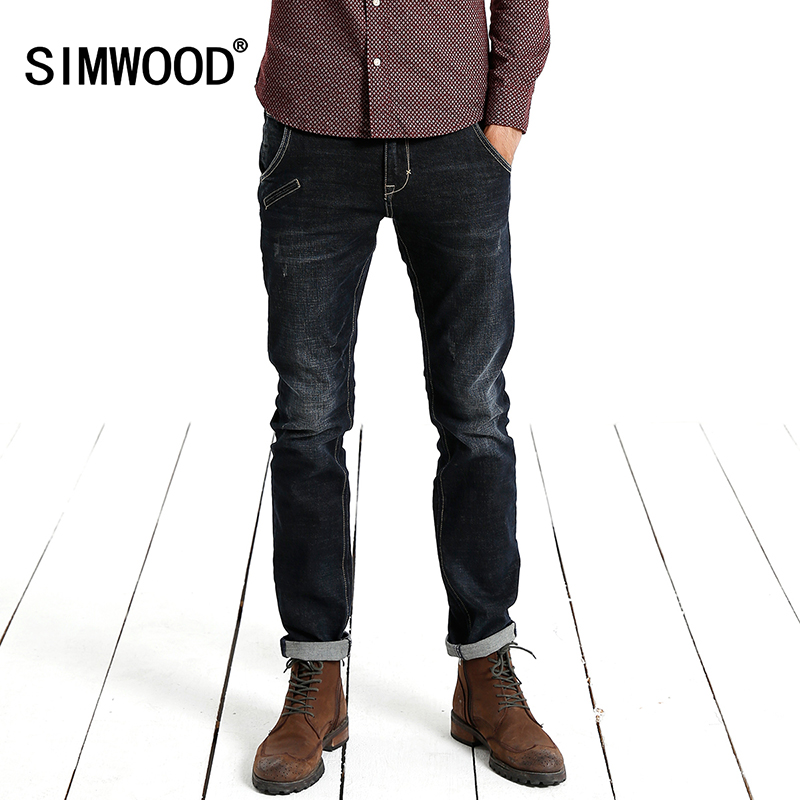 Simwood Jeans Men 2017 New Arrival Brand Fashion Casual Slim Fit Straight Long Trousers High Quality Pants Free Shipping SJ623 2017jeans men new arrival brand clothing blue slim fit casual stretch denim pants high quality plus size free shipping