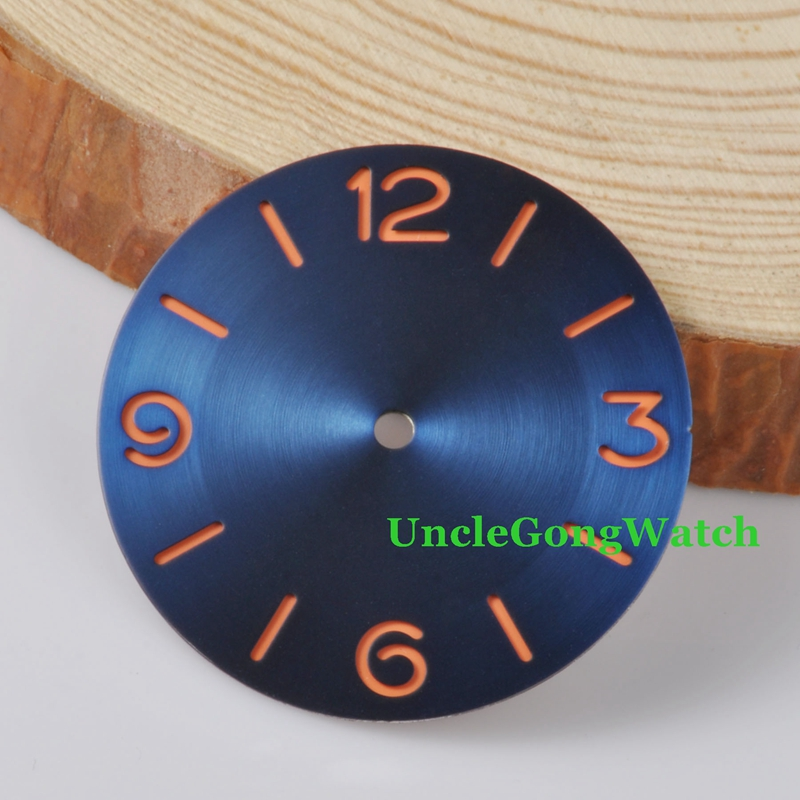 Watch Parts, Parnis 38.84mm Blue Dial Orange Numbers Sterile for 6497 Hand Winding Watches , DIY Wristwatch Dials D38.84BL