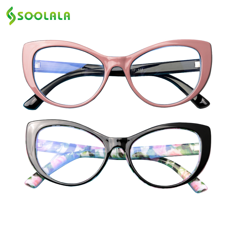 SOOLALA Anti Blue Light Filter Glasses Women Cat Eye Anti Fatigue Computer Protection Glasses Anti UV Blue Ray Goggles Women