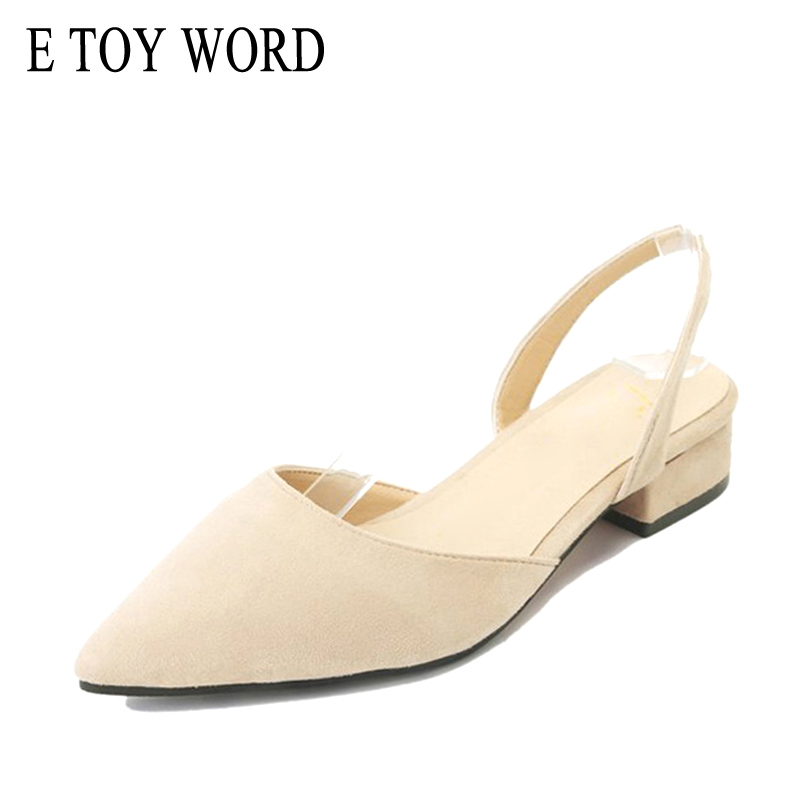 E TOY WORD 2019 New Fashion Women sandals Low Heels Pointed Toe Flock Straps Slingback Square Women Summer Shoes Heels Sandals in Low Heels from Shoes