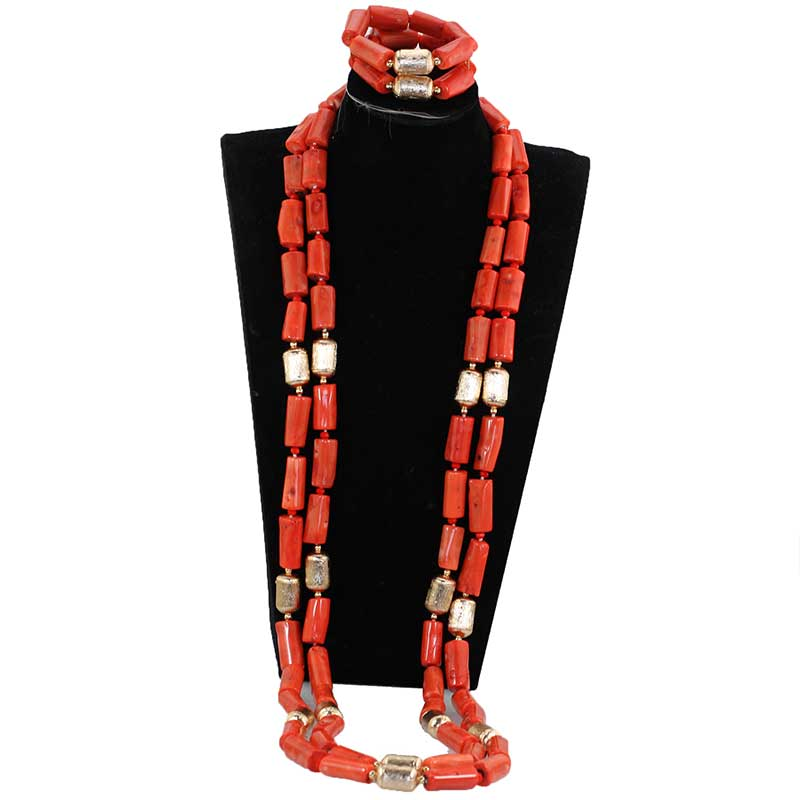 Luxury 3 Layers Red Coral Nigerian Wedding African Beads Jewelry Set 45 inches Gold and Coral Long Statement Necklace Set CNR853