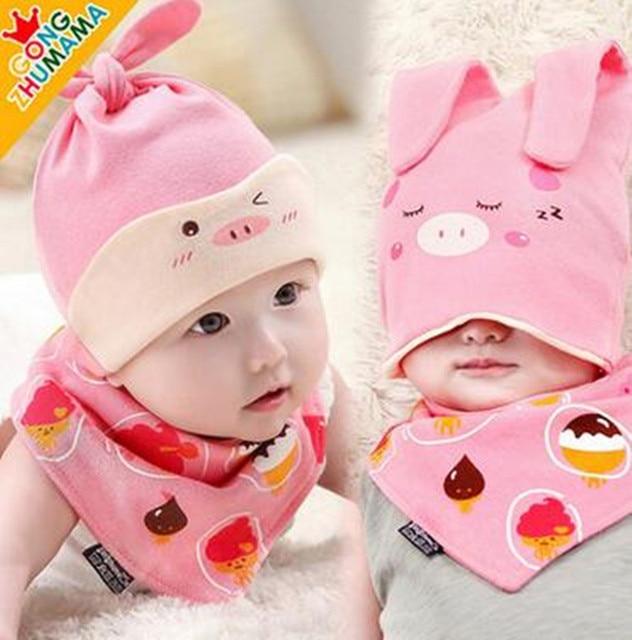 0-18 MONTH New Cute Rabbit Baby Cotton Sleep Hat Bib Sets Children Hats  Beanies 04308056029
