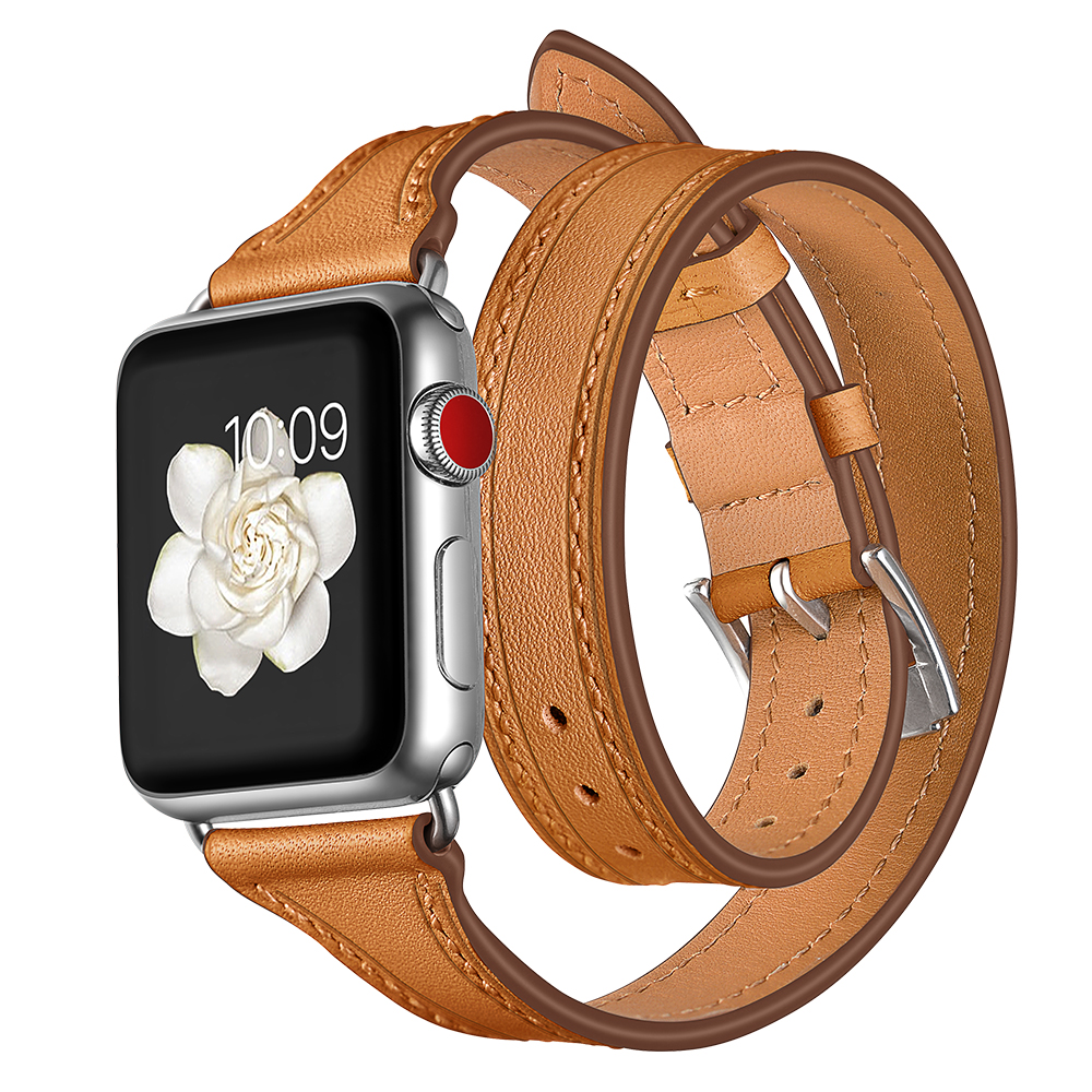 EIMO Leather Loop Band For Apple Watch Series 4 44mm 40mm Iwatch 4 3 2 1 42mm 38mm Double Tour Wrist Strap Bracelet Watchband цена