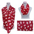 Knit Jersey Cotton Red White Animal Elephant Infinity Scarf  Circle Scarves Ring  DST Scarf   Delta Sigma Theta Inspired   gift