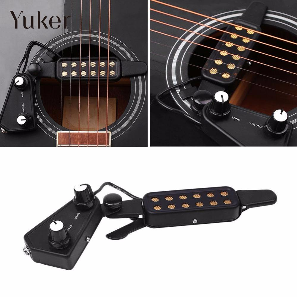 "Yuker 12 <font><b>hole</b></font> <font><b>Magnetic</b></font> <font><b>Sound</b></font> <font><b>Hole</b></font> 38""/39""/40""/41"" Acoustic <font><b>Guitar</b></font> <font><b>Pickup</b></font> <font><b>Transducer</b></font> with Volume Tone Tuner Audio Cable"