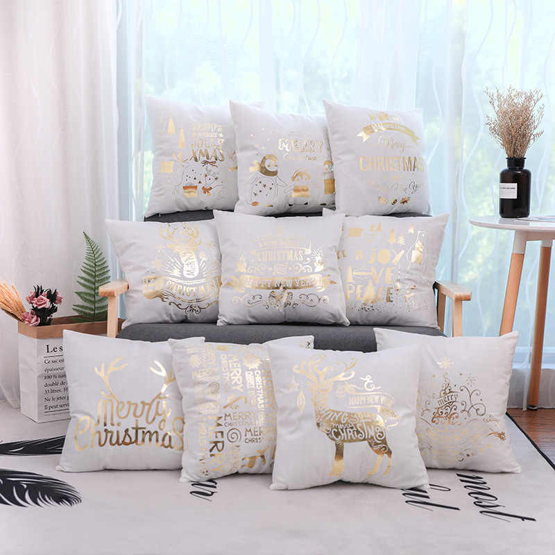 Tremendous Fuwatacchi Gold Merry Christmas Cushion Cover New Year Gift Inzonedesignstudio Interior Chair Design Inzonedesignstudiocom
