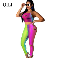 QILI Women Fashion Hole Jumpsuits Short Top + Pants Two Piece Set Cut Out Hollow Out Casual Jumpsuits Rompers Women Outfits Set