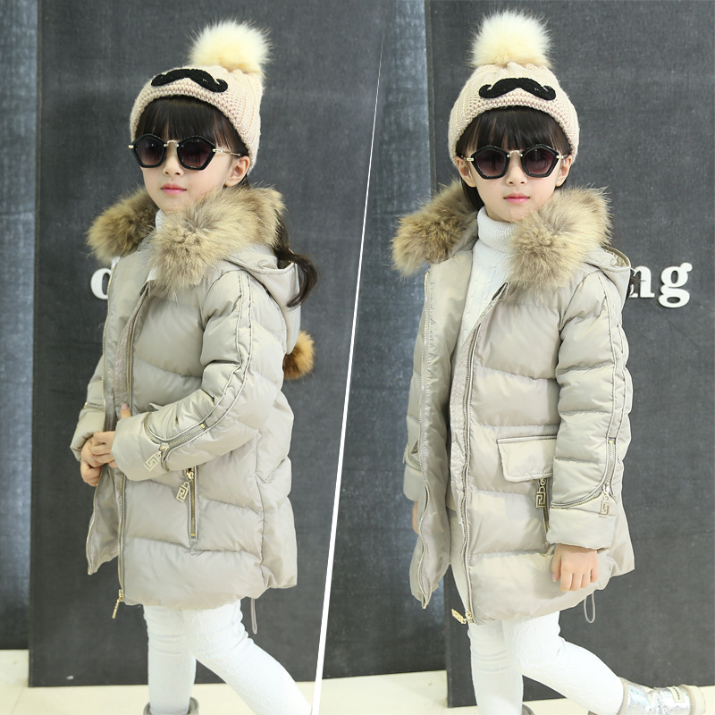 Winter Parkas Girls big Cotton Padded Coats long section Warm Thicken Fur Hooded Jackets Children Tops kids warm outwear W10
