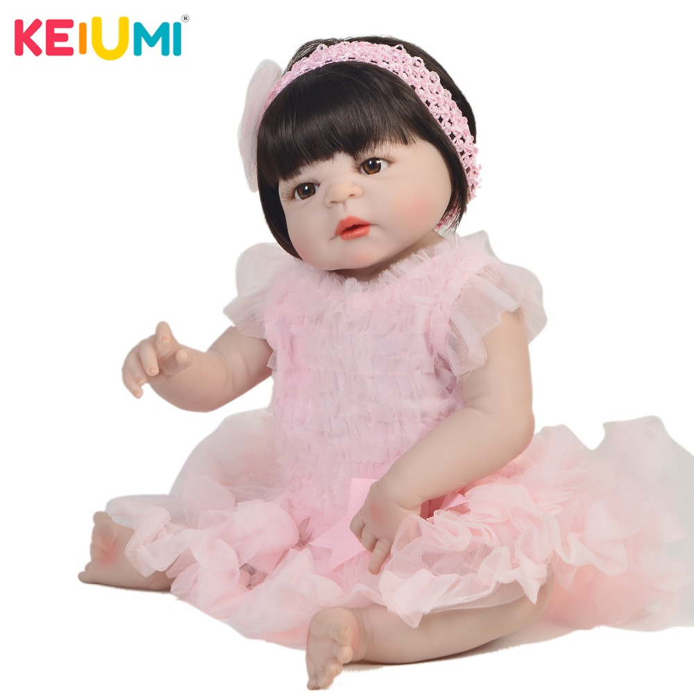 Rare 57 cm Silicone Reborn Baby Girl Full Silicone Body Reborn Dolls Lifelike Kids Playmate Baby Toys Girl  Christmas GiftsRare 57 cm Silicone Reborn Baby Girl Full Silicone Body Reborn Dolls Lifelike Kids Playmate Baby Toys Girl  Christmas Gifts