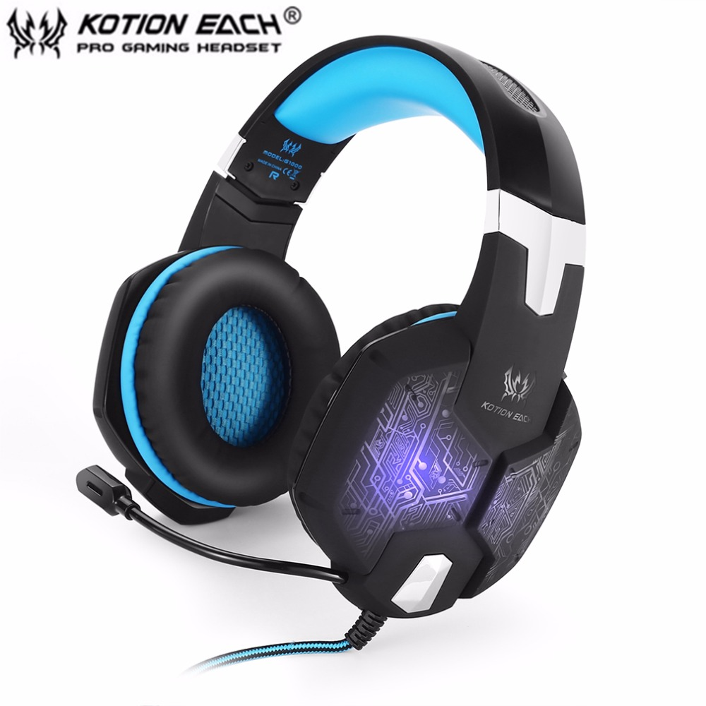 KOTION EACH G1000 Professional 3.5mm PC Gaming Bass Stereo Headset Microphone Colorful Breathing Light For Laptop Computer each g1100 shake e sports gaming mic led light headset headphone casque with 7 1 heavy bass surround sound for pc gamer