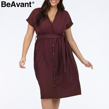 BeAvant Casual women plus size dress summer 2019 V neck short sleeve high waist dress female Buttons loose midi dress vestidos