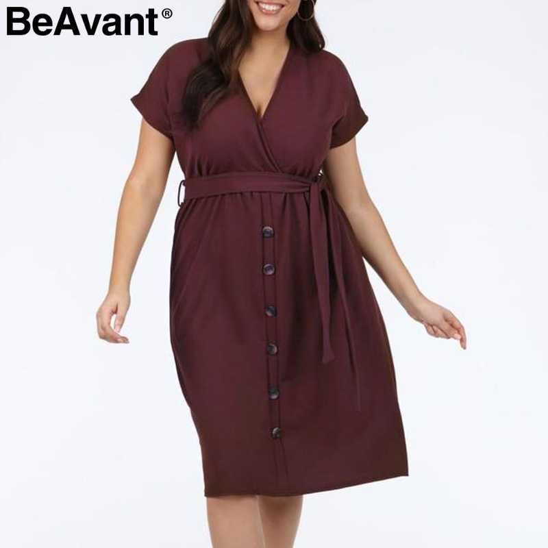 000121a6526 BeAvant Casual women plus size dress summer 2019 V neck short sleeve high  waist dress female