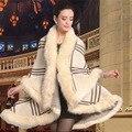 Europa Boutique De Inverno Xadrez das Mulheres Capa De Pele De Coelho Jaqueta Casaco De Lã Das Mulheres De Pele De Malha Cardigan Camisola Xale De Pele