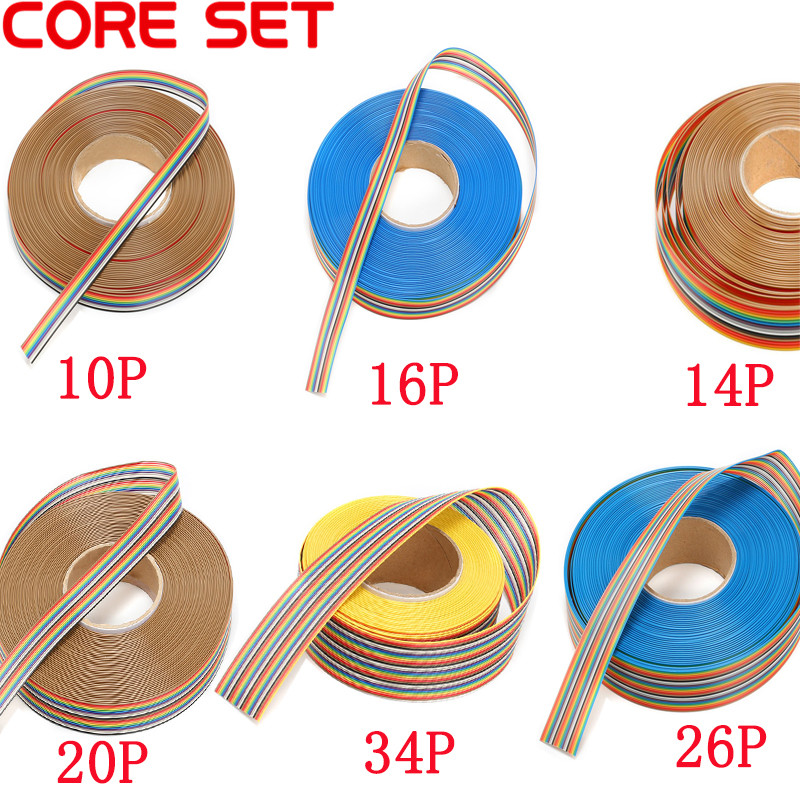 1m Flat IDC Ribbon Extension Cable Rainbow DuPont Wire 10P 14P 16P 20P 26P 34P 40P 50P Pin With 1.27mm Line Pitch Connect Wires