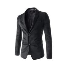 Fashion Feature Pocket Back Collar Contrast Suede Mens Casual Suit Long Sleeve V-neck Men Clothes Bleiser Masculino Blazer Man