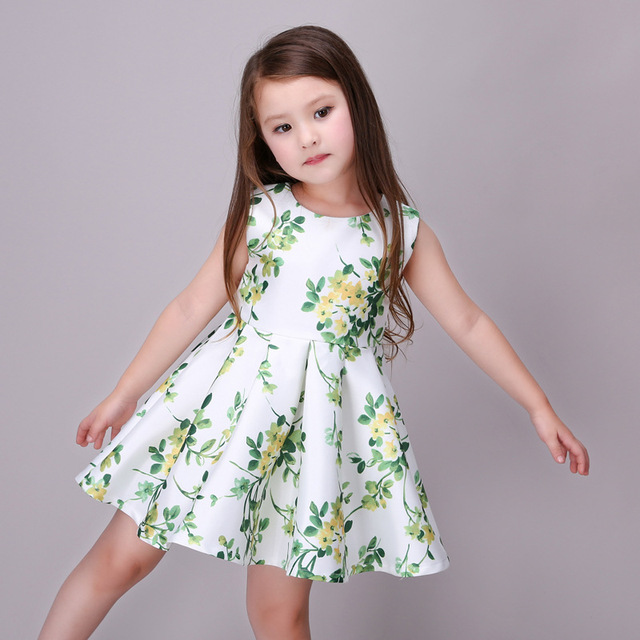 98bb4f693dff Mitun 2017 New Year Kid Summer Christmas Princess Casual Print Pattern Party  Girls Dress Children Clothes Baby Girl Dresses
