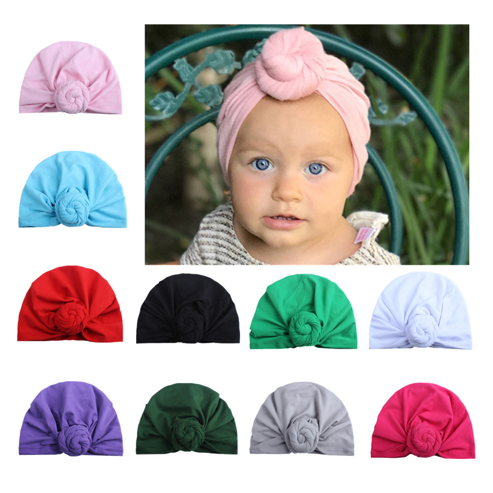 Fashion Donut Baby Hat Newborn Elastic Cotton Baby Beanie Cap Multicolor Infant Turban Hats 1 PC
