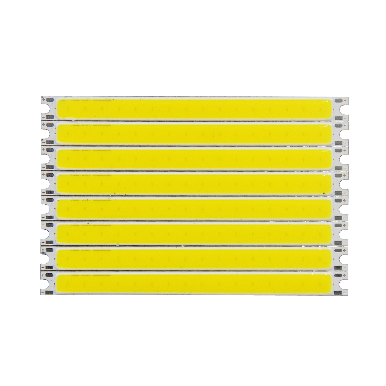 Купить с кэшбэком 10pcs bulk sale 100mm 8mm high bright LED Strip COB module Light Source 12V DC White Warm White 5W LED bar Bulb for DIY lamp