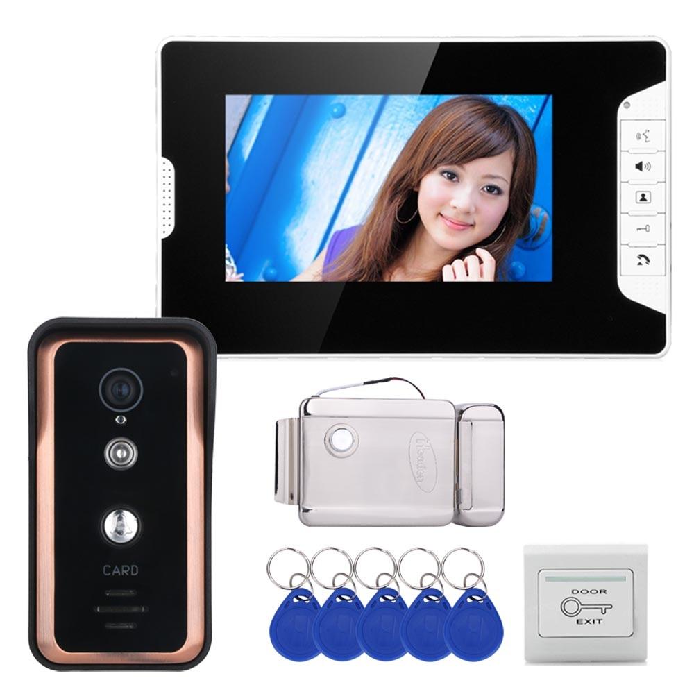 Wired 7 Inch Video Door Phone Video Intercom Doorbell System 1 Monitor 1 RFID  Camera +Stainless Steel Electronic Door Lock