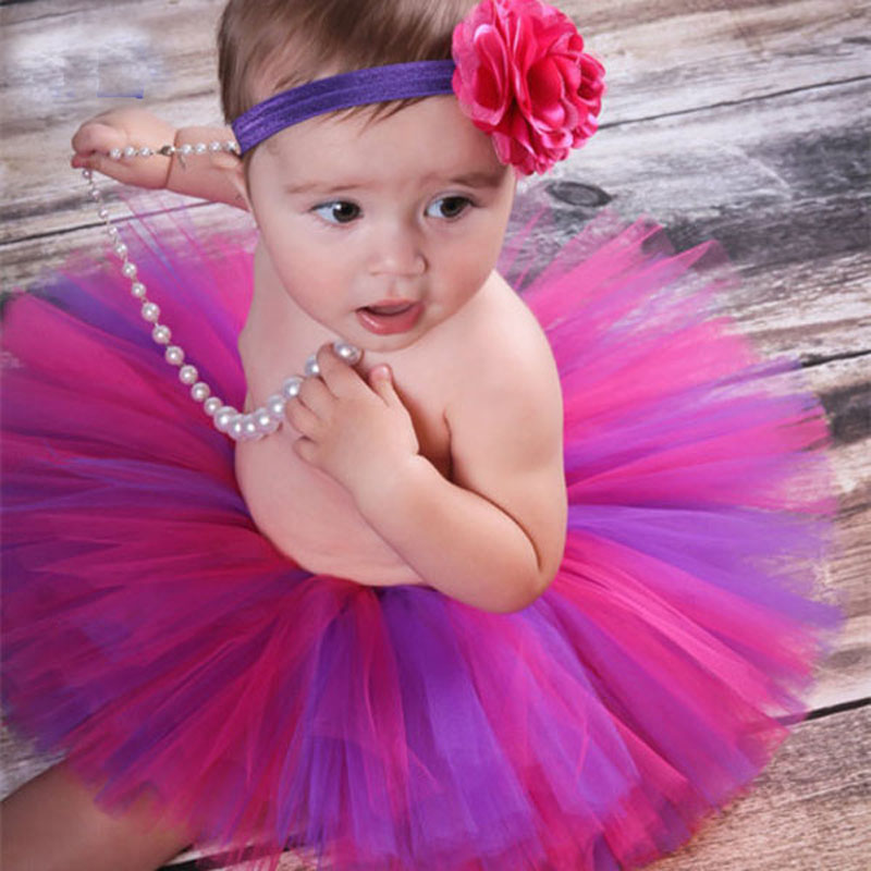 Super Sweet Pink and Ivory Precious Newborn Tutu and Flower Headband Set Baby Photography Props Girls Tutu Skirt TS028