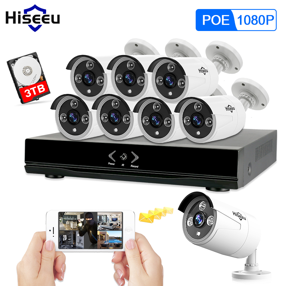 Full HD 8CH NVR 1080P POE 48V CCTV System Kit 2MP Indoor Outdoor IP Camera Waterproof IR P2P Video Security Surveillance Hiseeu 8ch nvr kit 720p 3 6mm waterproof outdoor onvif ir ip camera 1 0mp and 8ch 1080p 720p nvr for cctv security system free shipping