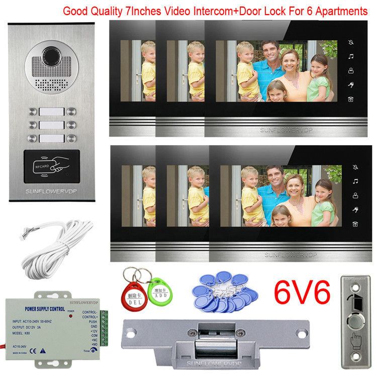 Intercom With Camera For Apartment 2/3/4/6 Multi Units Video Door Bell 7