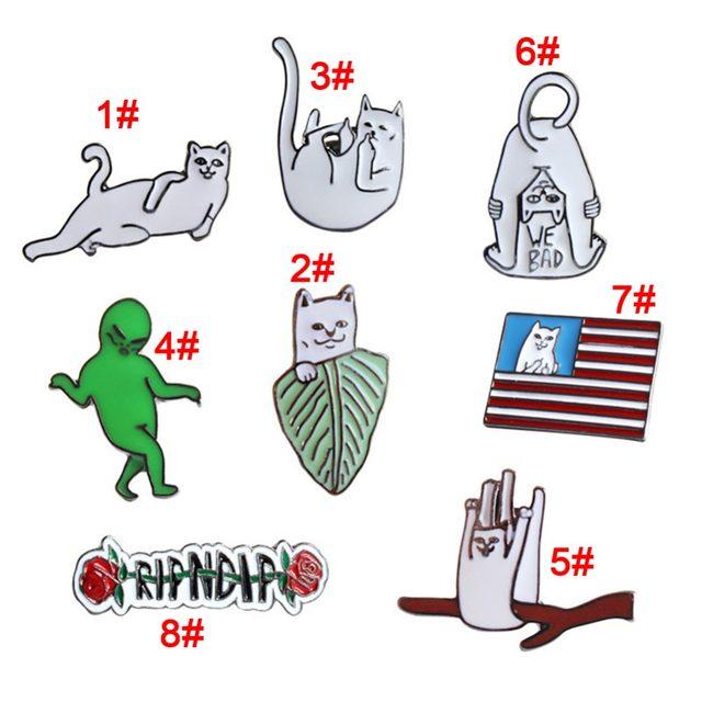 Cute Funny Cat Alien Enamel Collar Pins Badge Corsage Cartoon Brooch Jewelery Accessories 237445