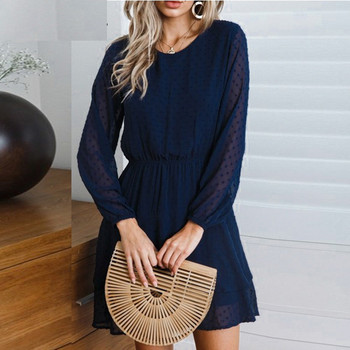 Women O-Neck Solid Cascading Full Lantern Casual Mini Summer Beach Sundress