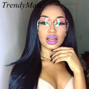 אופנה וינטג 'עגול ללא שפה ברור גדול משקפי שמש נשים מותג מעצב שמש משקפיים מתכת מסגרת רטרו שיפוע גוונים M501