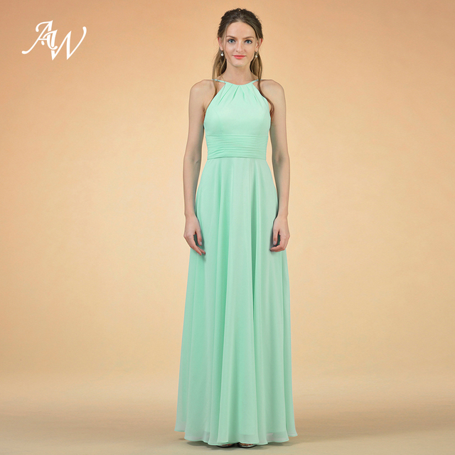 ae77296522c AW Long Chiffon Bridesmaid Dresses Women s Formal Maxi Dress for Prom  Wedding Party