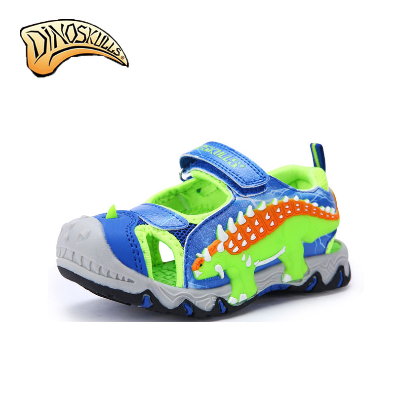 Dinoskulls 2018 New Boys Sandals Kids Sneakers Summer Shoes Infantil Boys Beach 3D Dinosaur Sandals Faction Anti-Slip Shoes