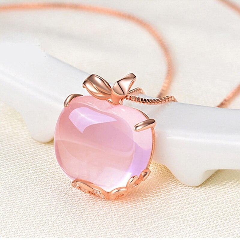 Rose Quartz Pink Opal Apple Necklace