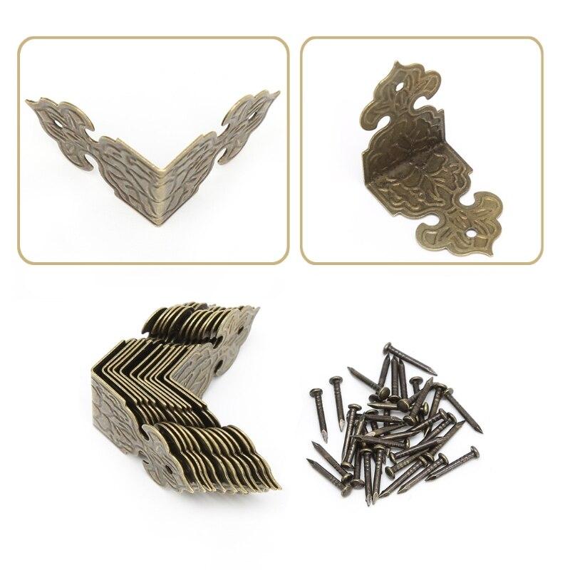 12 Xantique Brons Decoratieve Sieraden Doos Hout Case Voeten Been Hoek Protector