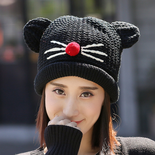 2017 Sale Hot Sale Beanie Korean Cute Cartoon Winter Hat Female Student Knitted In Autumn And Outdoor Warm Ms. Mao Xianmao