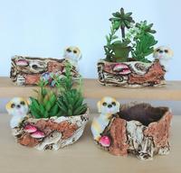 set Imitated wooden animal flowerpot mini succulent plant flowerpot household garden green flowerpot crafts statue home