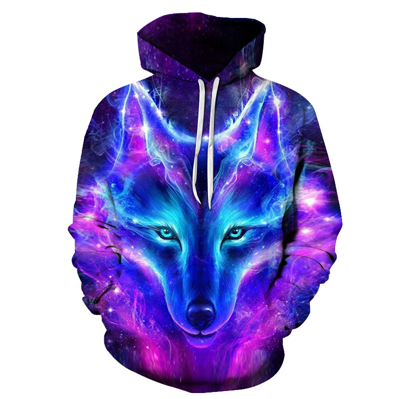Hot 3D Space Galaxy Galaxy Fluorescent Wolf Fashion Hoodie Pullover in 2019 Spring/Autumn Printed Animal Hooded Baseball Jersey