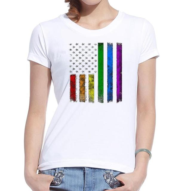 5a95c0fc1d5 Graphic Tees Women Shirt Printed Rainbow America Usa Flag Cotton Vintage  White Tshirt Casual Funny 2017 New Fashion Hot Clothing