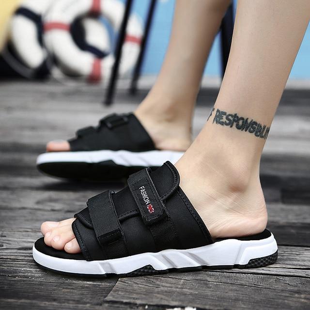 c9c56f9dfea9c Men Slippers Hemp Shoes Sandals Pull On Summer Beach Casual Sands Fashion  Male Breathable Sandalias Hombre Slides