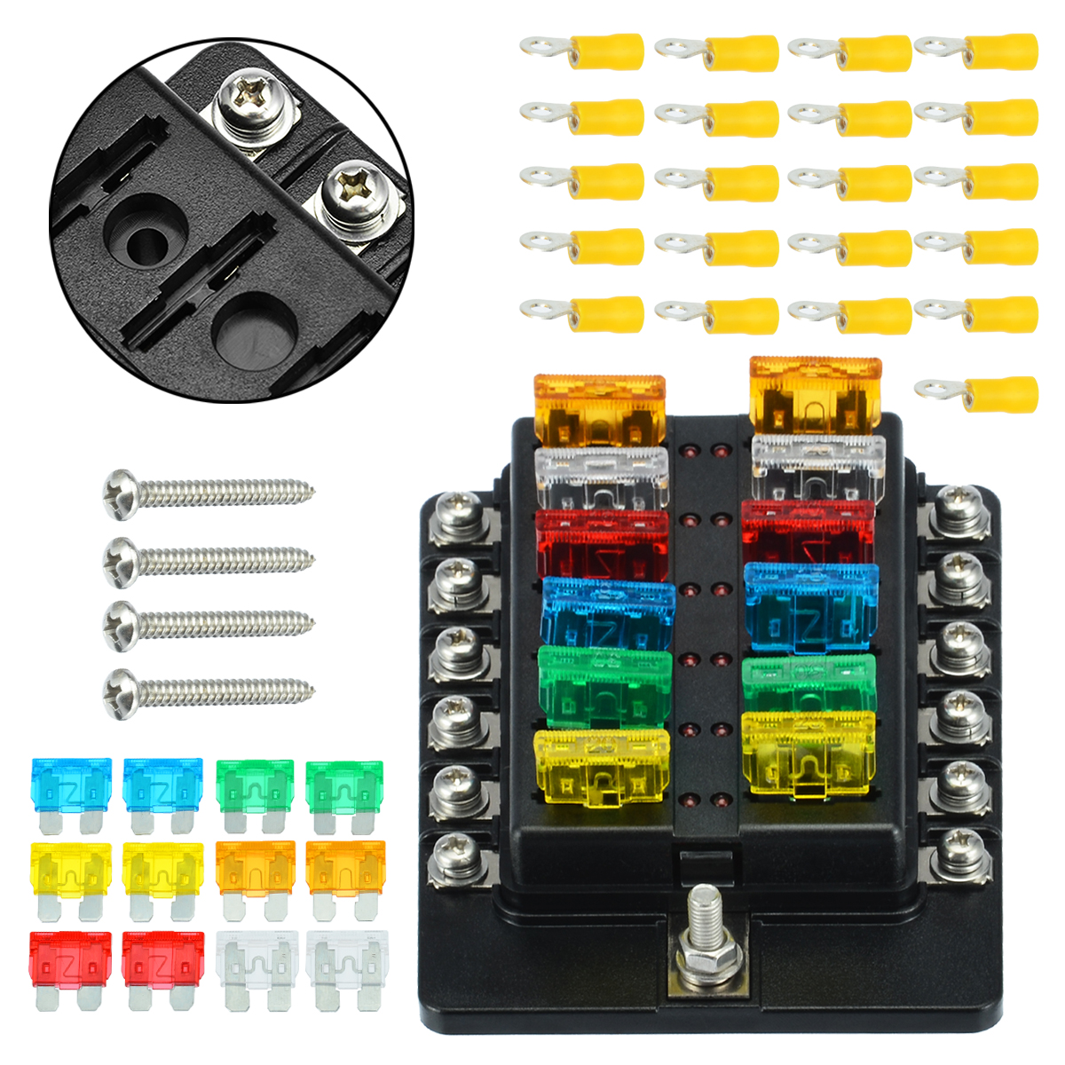 12 Way LED Circuit Standard ATO ATC Blade Fuse Box Block Holder Auto Car Boat US